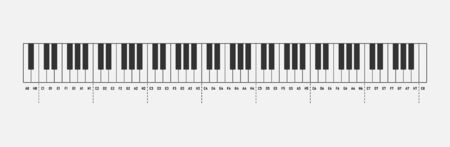 Music notes piano keyboard 88 keys isolated on white background. Solfeggio. Vector illustration.