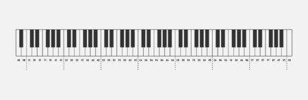 Musik merkt Klaviertastatur 88 Tasten isoliert auf weißem Hintergrund. Solfeggio. Vektor-Illustration.