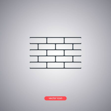Brick wall icon isolated on white background. Flat design. Vector illustration.