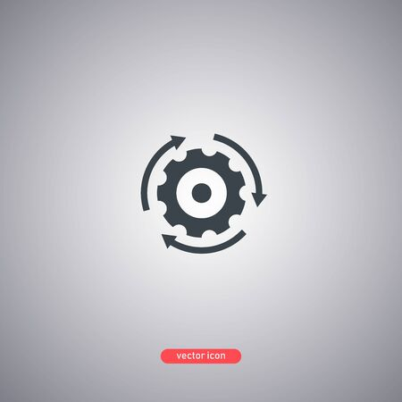Implementation icon isolated on gray background. Gear with arrows. Vector illustration.