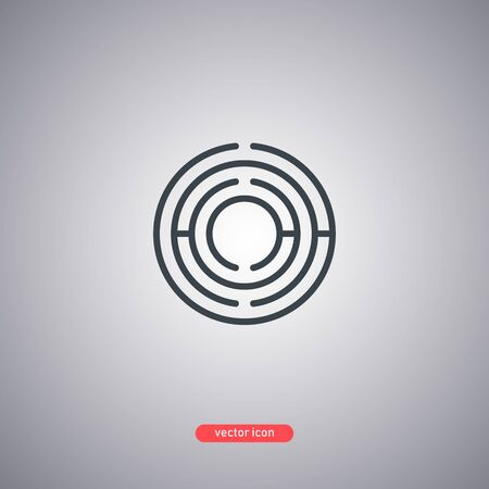 Black maze icon in lines style isolated on gray background. Minimalistic modern style. Vector illustration.