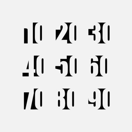 Designer number template set. Numbers multiple of ten. Vector illustration.