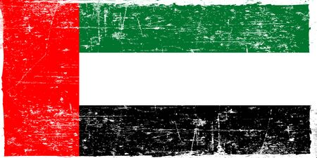 Flag of the United Arab Emirates in grunge style. The correct proportions. Vector illustration.
