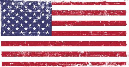 Flagge der Vereinigten Staaten von Amerika im Grunge-Stil. Die richtigen Proportionen. Vektor-Illustration.
