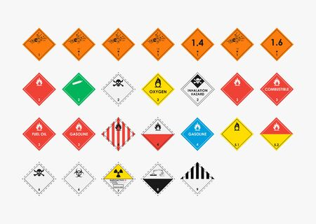 Dangerous goods icons set isolated on gray background. Marking of goods during transportation. Nine hazard classes. Vector illustration.