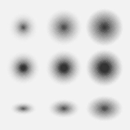 Set of round halftone gradients isolated on gray background. Black spots. Vector illustration.