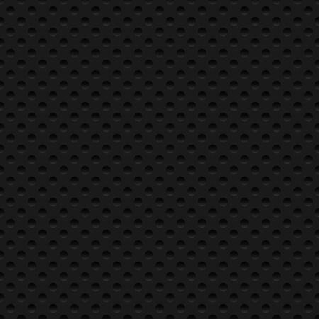 Black seamless background. Modern metallic perforated texture. Vector illustration. Ilustración de vector