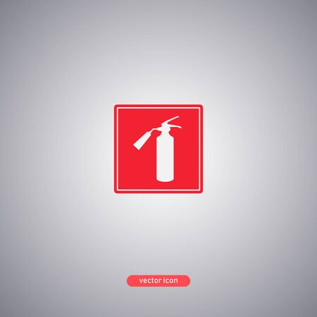 Fire extinguisher white icon on a red plate. Fire extinguishing media designation. Vector illustration.