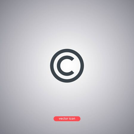 Copyright symbol isolated on gray background in flat modern style. Vector illustration. 向量圖像
