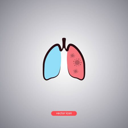 Virus-susceptible lungs icon isolated on gray background. Pneumonia icon in a flat style. Vector illustration.