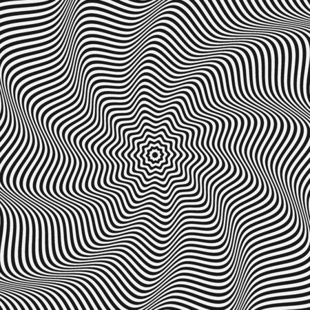 Op background. Abstract background. Hallucinations black and white lines. Vector illustration. Ilustración de vector
