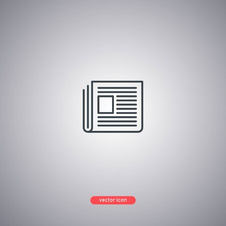 Newspaper icon isolated on a gray background. Modern line style. Vector illustration. Ilustrace