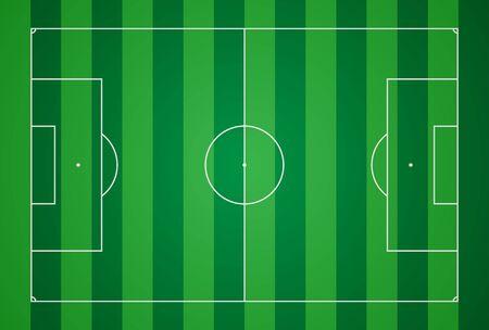 Football field. Football markup template. Standard ratios of European football. Vector illustration.