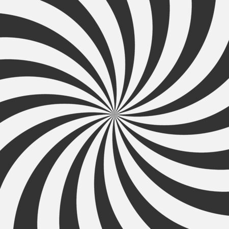 Abstract monochrome background. Black-white spiral. The rays of the comic. Vector illustration. Иллюстрация