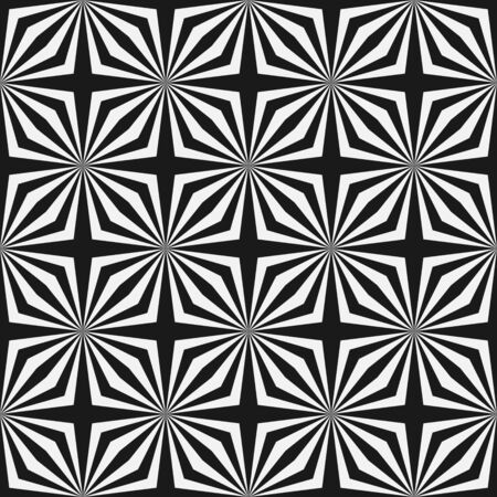 Abstract monochrome seamless pattern. Optical illusion. Black and white stars. Vector illustration.
