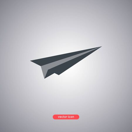 Paper airplane icon isolated on a gray background. Flat modern style. Vector illustration.