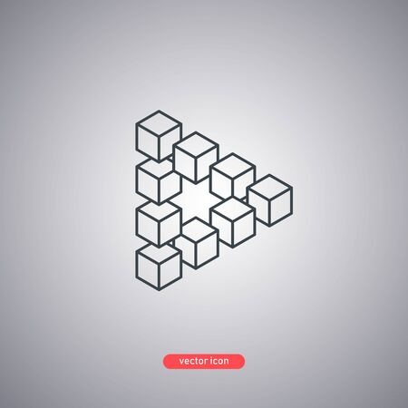 Penrose triangle volumetric view. 3D cubes in the Penrose triangle. Line style. Vector illustration. Illustration