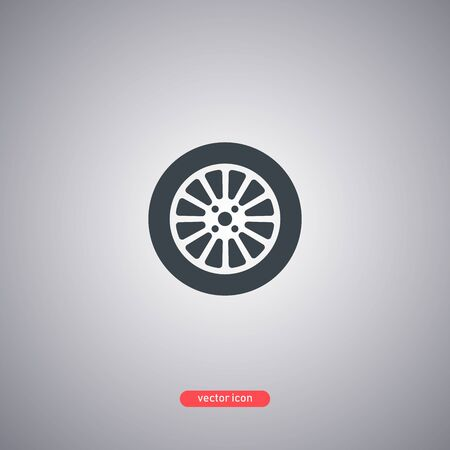 Car wheel icon isolated on a gray background. Flat modern style. Vector illustration. Illustration