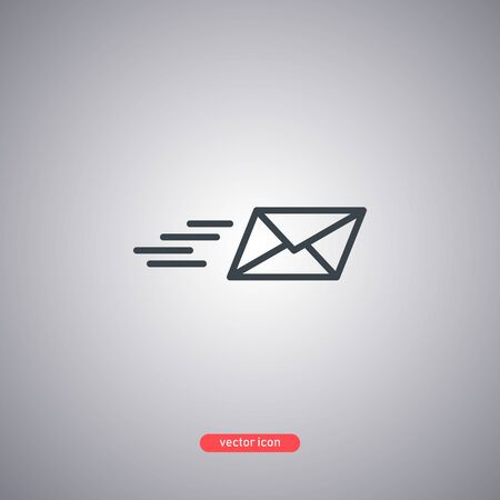 Message sending icon isolated on gray background. Modern line style. Vector illustration.