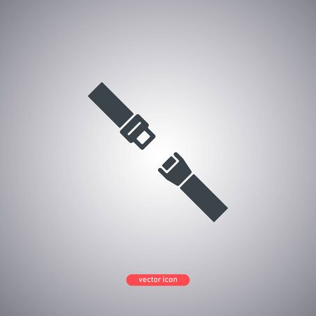 Seat belt icon isolated on gray background. Modern flat style. Vector illustration. Vectores