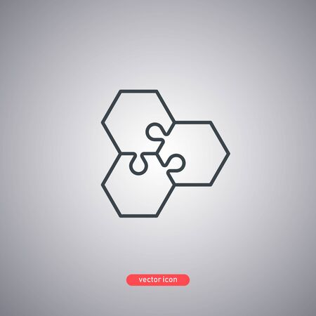 Hexagonal puzzles icon isolated on gray background. Modern line style. Vector illustration. Illustration