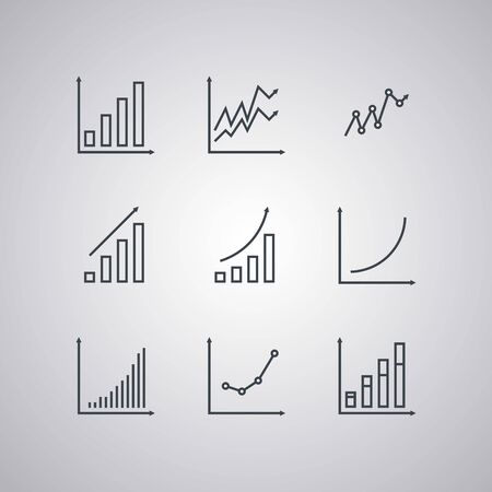 Set icons of economic graphs isolated on white background. Modern line style. Vector illustration.