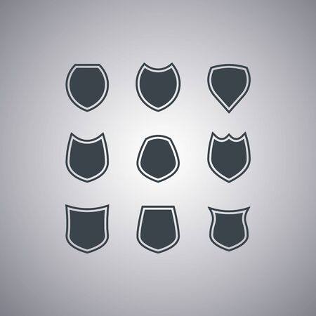 Shields icons set isolated on gray background. Modern flat style. Vector illustration