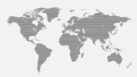 World map of horizontal lines isolated on white background. Vector illustration