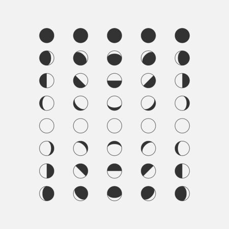 Moon phases in different parts of the world. Moon phases icons isolated on white background. Vector illustration.
