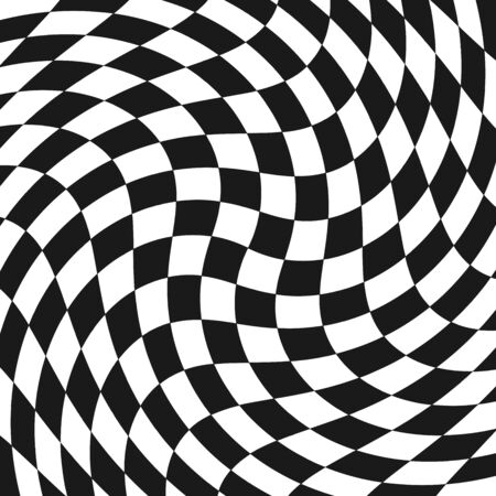 Racing flag texture. Distorted background. Optical background. Vector illustration.