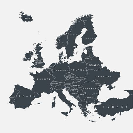 Map of Europe isolated on a white background. Vector illustration.