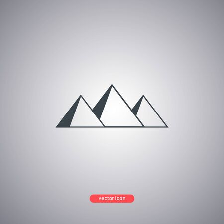 Egyptian pyramids icon isolated on gray background. Icon in a flat modern style. Vector illustration.
