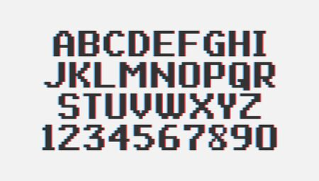 Pixel vintage font isolated on white background. Black font with glitch effect. Vector illustration.