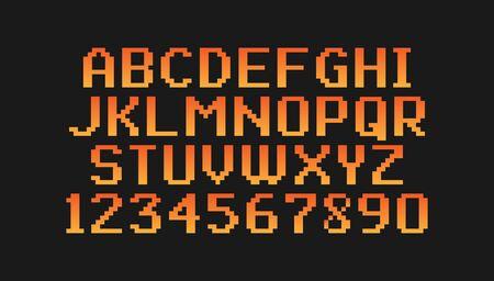 Pixel vintage font isolated on black background. Yellow-orange gradient. Vector illustration. Illustration