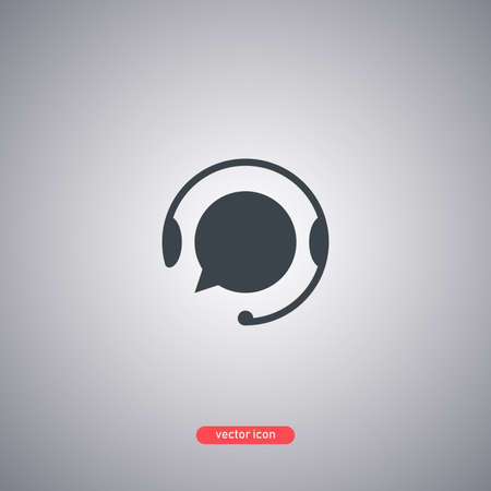 Support with speech bubble icon in flat style isolated on gray background. Vector illustration.