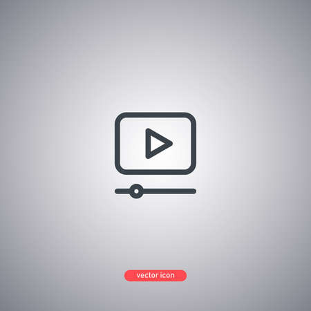 Video icon in line style isolated on gray background. Vector illustration. Illustration