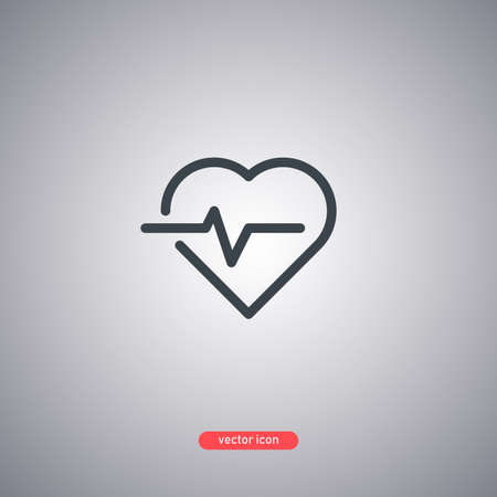 Heartbeat icon in line style isolated on gray background. Vector illumination.