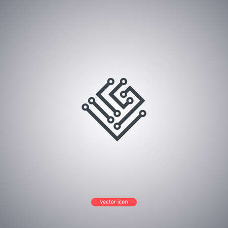 Technology icon. Microchip symbol isolated on gray background. Vector illustration. Illustration