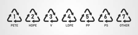 Plastic recycling codes icon set isolated on white background. Vector illustration.