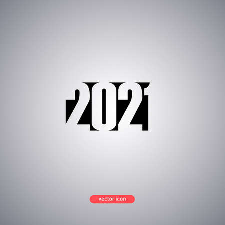 2021 year icon isolated on gray background. New coming year icon. Minimalistic style. Vector illustration.