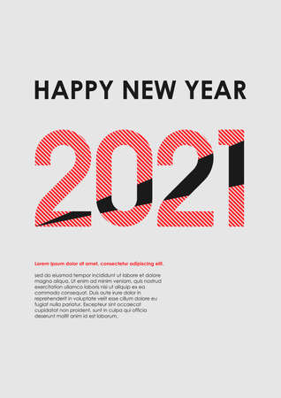 New Year, modern, minimalistic template in three colors.
