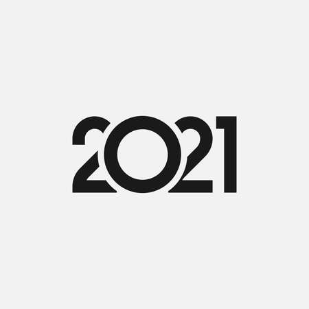 2021 year icon isolated on gray