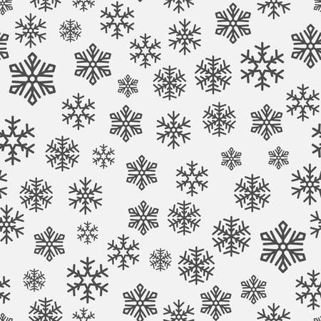 Seamless New Years black and white background. falling snowflakes. Vector illustration.