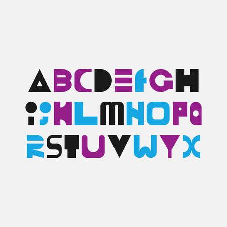 Geometric alphabet in modern style isolated on white background. Vector illustration. Illustration