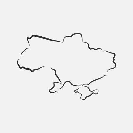 Ukraine map in line style. Vector illustration.