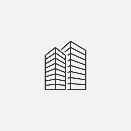 City icon in line style. Vector illustration. Illustration