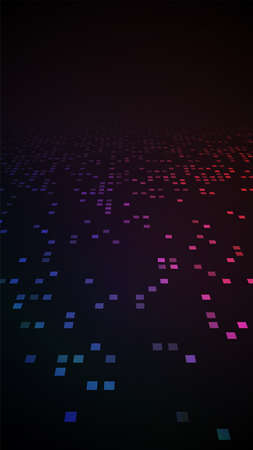 Colorful glowing dots. Dark modern perspective background.