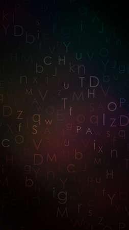 Alphabet colorful dark background. Gradient random floating letters.