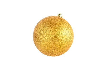 A bright gold christmas ornament, isolated on white with clipping path Stock Photo