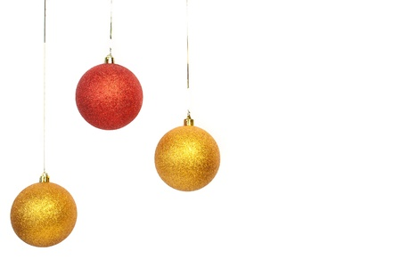 red and gold balls left side on white background